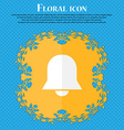 Alarm bell Floral flat design on a blue abstract vector image