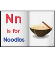 A picture of noodles in a book vector image vector image