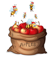 A sack of apple with bees vector image vector image