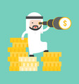arab business man stands on stack of gold coin vector image