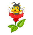 bee character on flower vector image