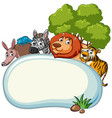 border template with wild animals vector image vector image