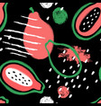 brush grunge papaya seamless pattern vector image