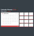 calendar planner 2018 week starts sunday vector image vector image