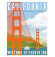 california travel poster or sticker vector image vector image