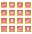 car repair parts icons set pink square vector image vector image