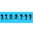 cartoon silhouette of a running woman vector image vector image