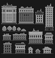 City building in monochrome flat style icons set