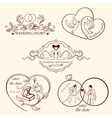 Collection of decorative wedding logo in retro vector image vector image