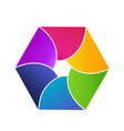 colorful hexagon shape icon vector image vector image