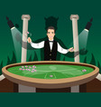 croupier behind roulette table vector image