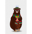 cute cartoon bear in knitted green hat and scarf vector image vector image