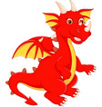 cute dragon cartoon standing with waving vector image vector image