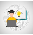 eduation online concept student knowledge school vector image vector image