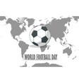 football ball on world map vector image vector image