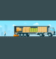 forklift car loading box up to shipping truck vector image vector image