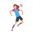 girl playing soccer smiling sportive young woman vector image vector image