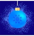 Glass Ball on Blue Confetti Background vector image
