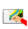 hand drawing funny colors on new tablet vector image vector image