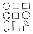 hand drawn circle and square frame collection vector image vector image
