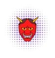 hannya mask icon comics style vector image