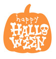 happy halloween bone lettering card vector image