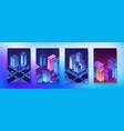 isometric set neon night ultraviolet module city vector image vector image