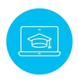 Laptop with graduation cap on screen line icon vector image vector image