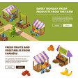 local farm banners outdoor food marketplaces with vector image vector image