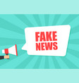 male hand holding megaphone with fake news speech vector image vector image