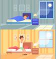man sleeping at night and vector image vector image
