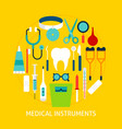 medical instruments flat concept vector image vector image