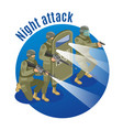 night attack isometric vector image