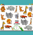 one a kind game for children with animals vector image vector image