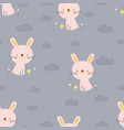 pattern with cartoon bunny vector image vector image