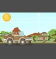 pickup offroad truck at nfture landscape vector image vector image