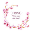pink spring wreath with watercolor blossom flowers vector image vector image