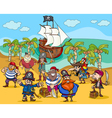 pirates on treasure island cartoon vector image vector image