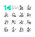 professions - set of line design style icons vector image vector image
