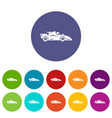 racing car icons set color vector image vector image