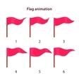 Red triangle shape flag waving animation sprites vector image vector image