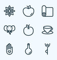 relax icons line style set with yoga mat peace vector image