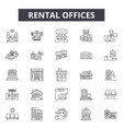 rental offices line icons signs set vector image vector image