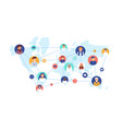 round portraits smiling people connected vector image vector image