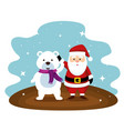 santa claus and snow bear with scarf vector image vector image