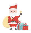 santa with bag bell and gifts celebration merry vector image vector image