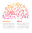 school education line template vector image