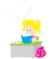 schoolgirl reading a textbook vector image vector image