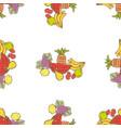 seamless pattern various drawn ripe fruits vector image