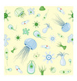 seamless patterns with jellyfish amoeba vector image